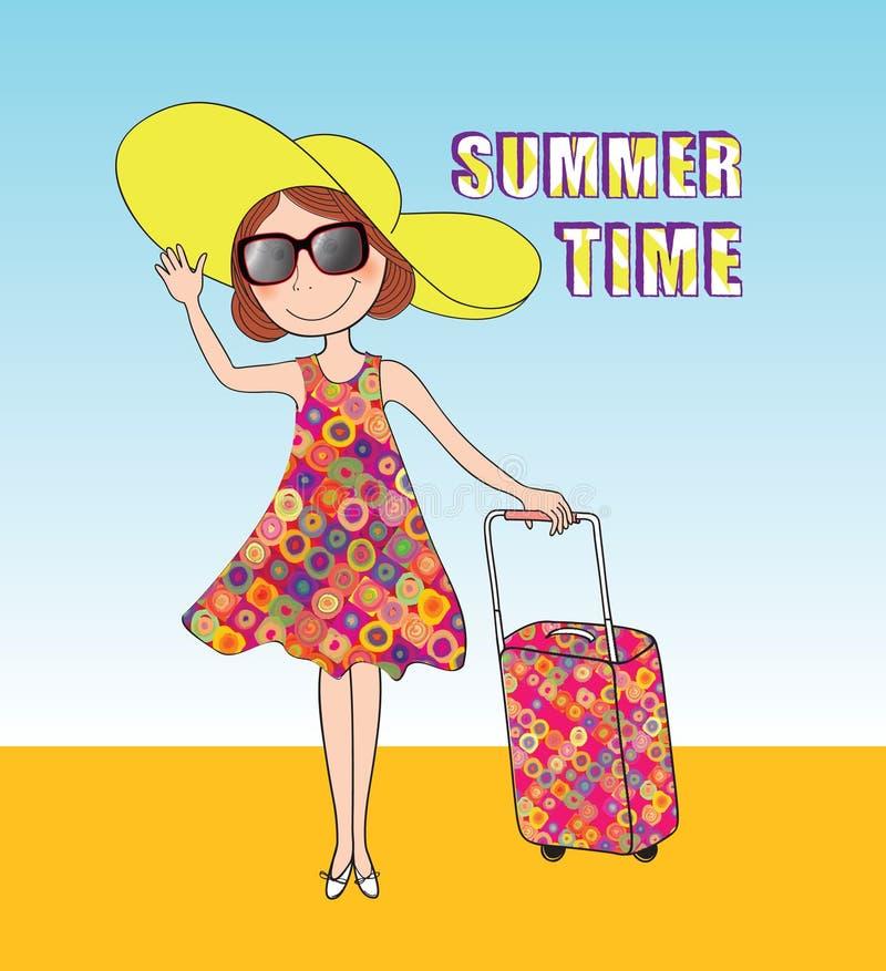 Fondo di viaggio di estate Cartellino marcatempo di ESTATE, ragazza, bagagli illustrazione vettoriale