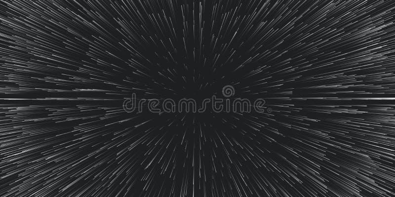 Fondo di viaggio di velocità della luce di vettore Moto centrico delle tracce della stella Luce delle galassie vaghe nei raggi o  illustrazione vettoriale