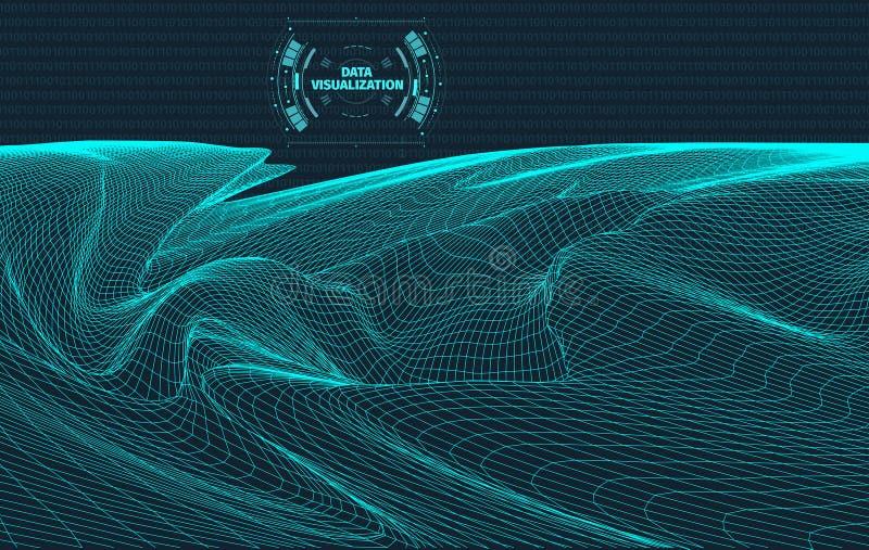 Fondo di visualizzazione di dati Elemento futuristico del hud di progettazione Concetto di codice binario, di codifica e di progr illustrazione vettoriale