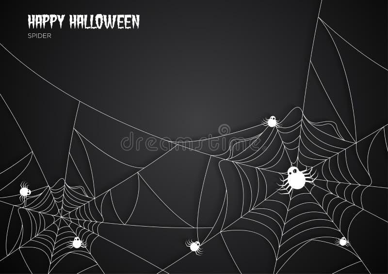 Fondo di web di ragni di notte di Halloween della cartolina d'auguri illustrazione vettoriale