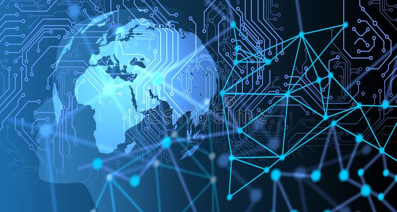 Fondo di web di tecnologia Concetto virtuale fondo di comunicazione di tecnologia di rete del mondo immagini stock libere da diritti