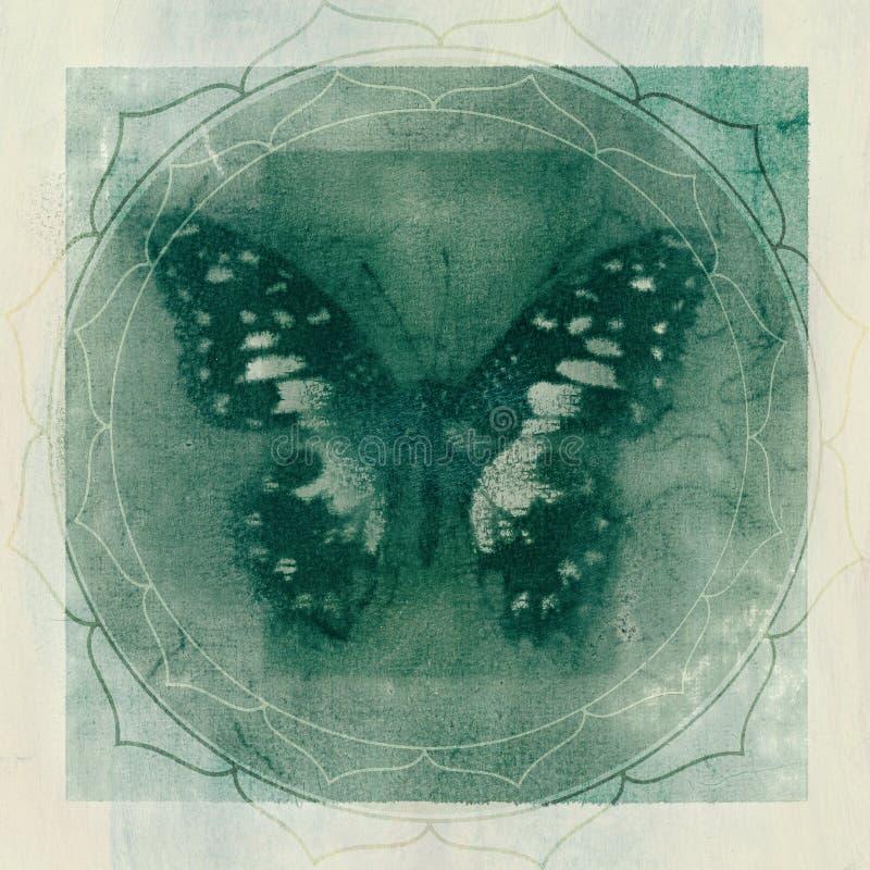 Fondo di Yantra di yoga della farfalla royalty illustrazione gratis
