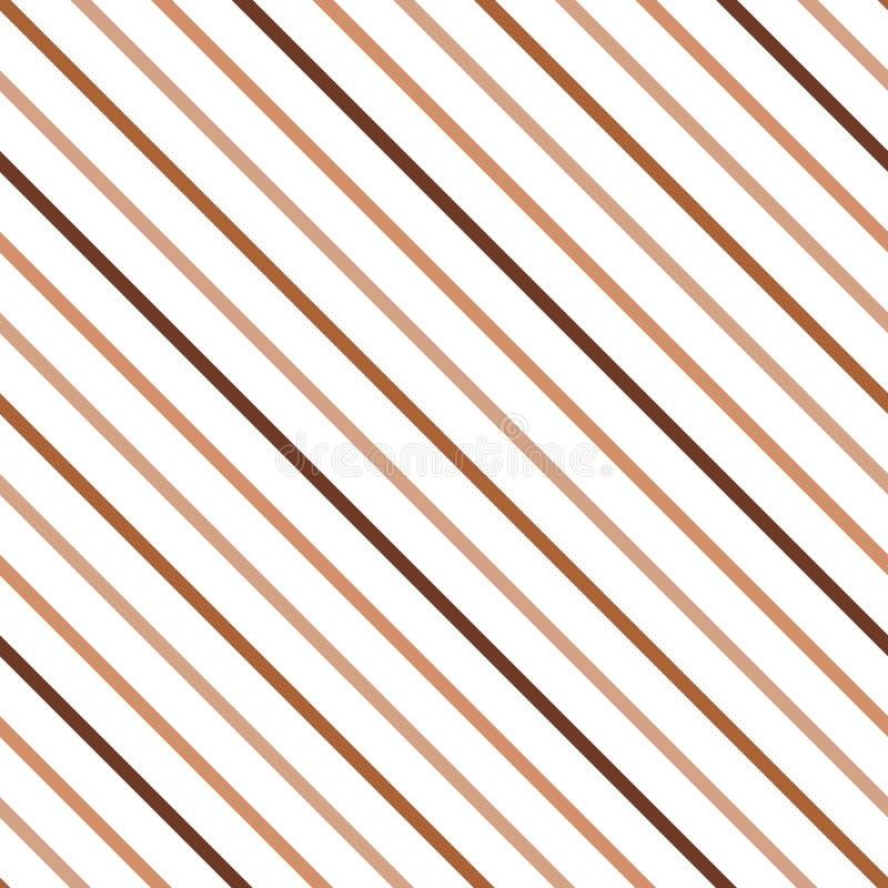 Fondo diagonale decorativo nei colori di marrone, del caffè e del caramello fatti dalle linee illustrazione vettoriale