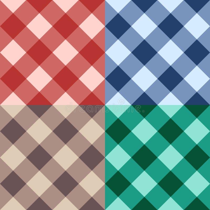 Fondo diagonale senza cuciture a quadretti stabilito illustrazione di stock