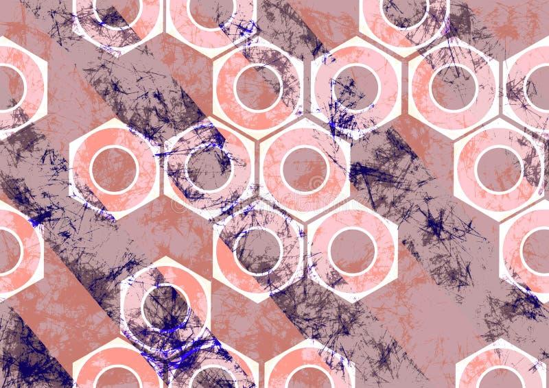 Fondo dibujado mano con las herramientas Bandera abstracta del grunge con las nueces del tornillo, rayas diagonales libre illustration