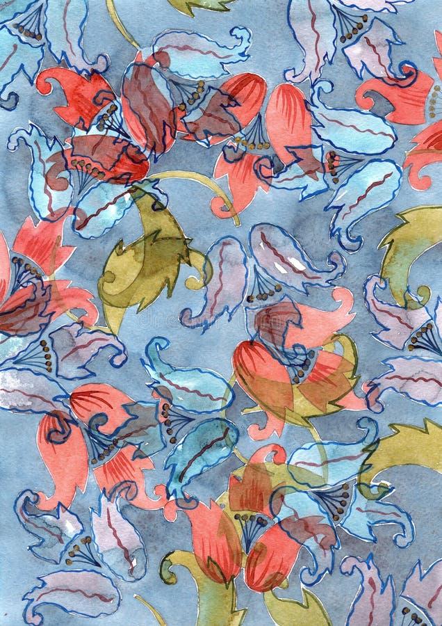 Fondo dibujado mano de la acuarela con las flores de campanas azules y rojas de mano en vagos azules stock de ilustración