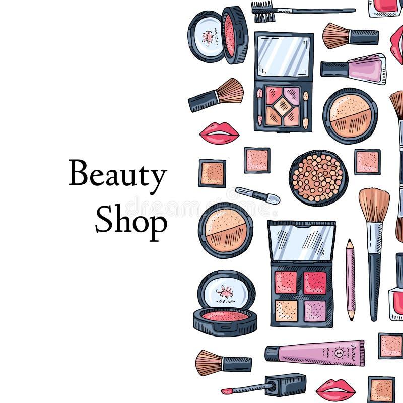 Fondo dibujado mano de los productos de maquillaje del vector libre illustration