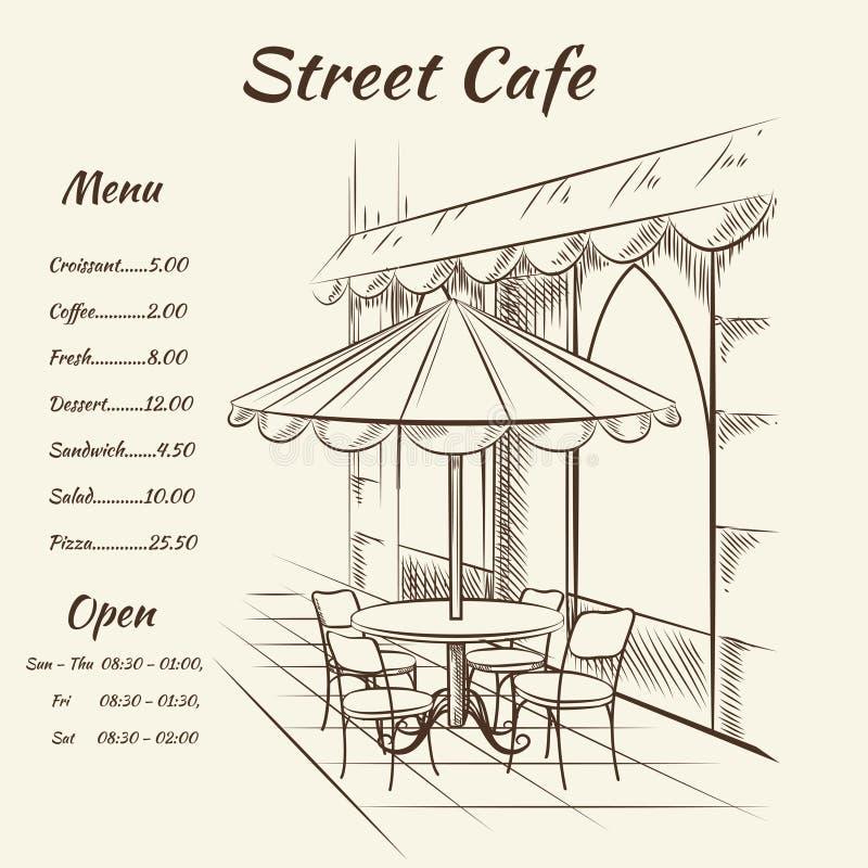 Fondo dibujado mano del café de la calle ilustración del vector
