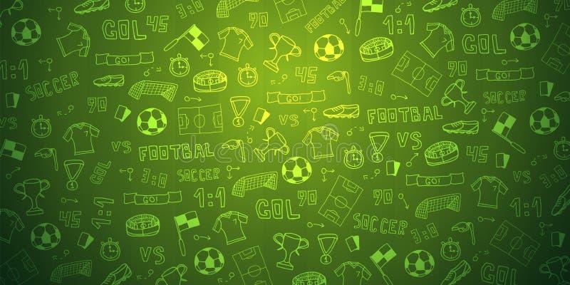 Fondo dibujado mano del fútbol o del fútbol del garabato elementos Ilustración del vector libre illustration