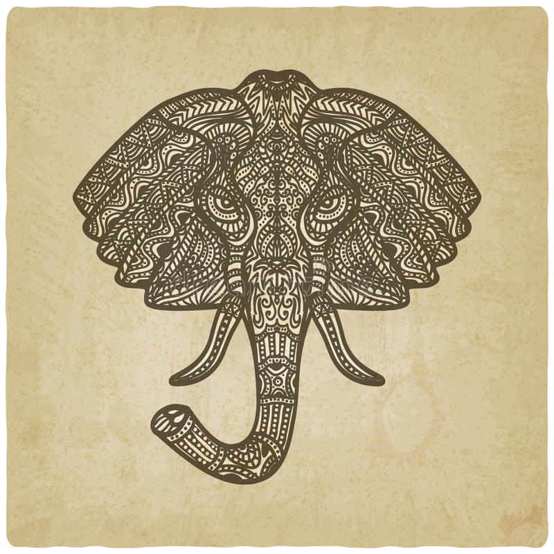 Fondo dibujado mano del modelo del elefante viejo ilustración del vector