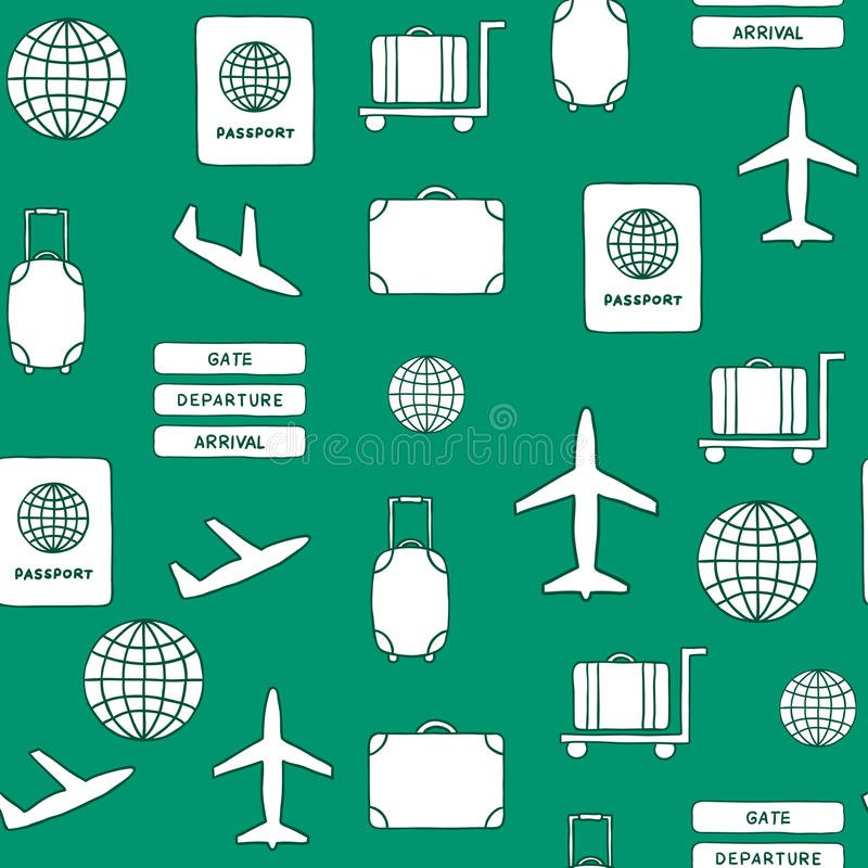 Fondo dibujado mano inconsútil en tema del aeropuerto ilustración del vector