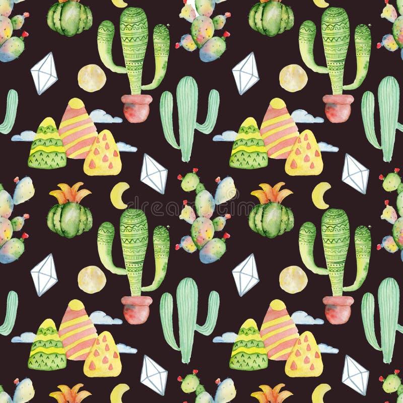 Fondo dibujado mano inconsútil tropical del modelo del cactus de la acuarela libre illustration