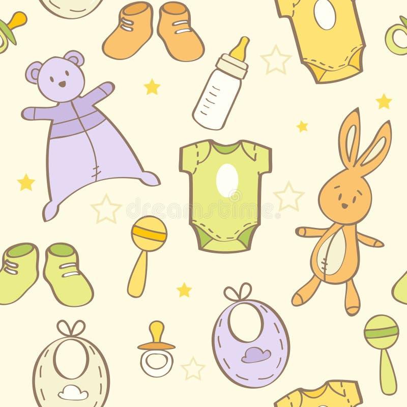 Fondo dibujado mano linda del bebé ilustración del vector