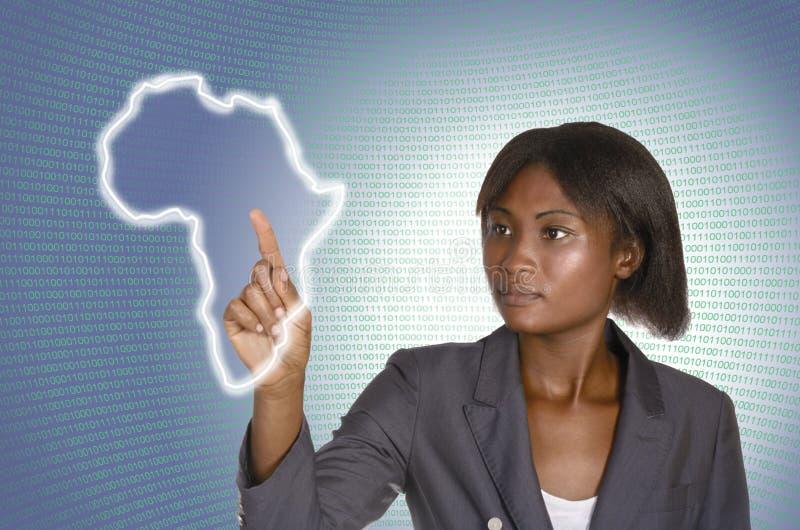 Fondo digital africano de la mujer de negocios las TIC imagenes de archivo