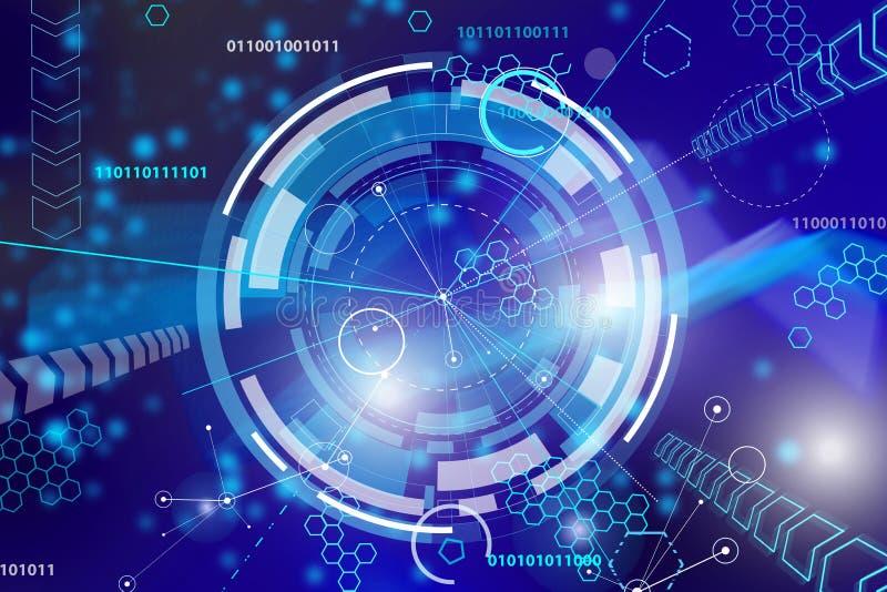Fondo digital azul del extracto de alta tecnología stock de ilustración