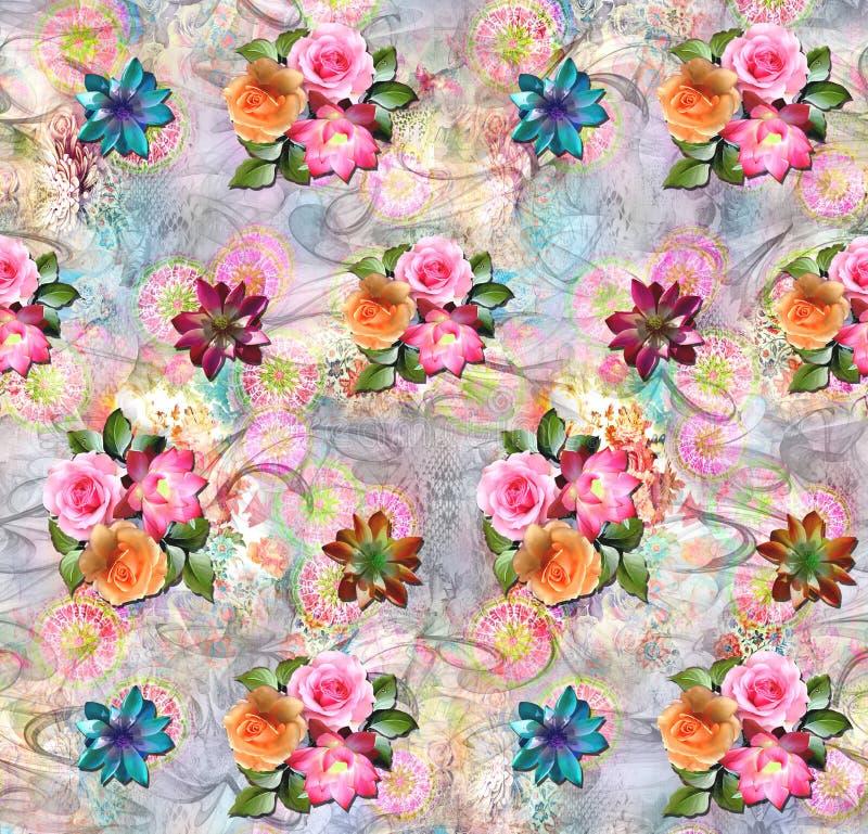 Fondo digital colorido del extracto con las flores clásicas stock de ilustración