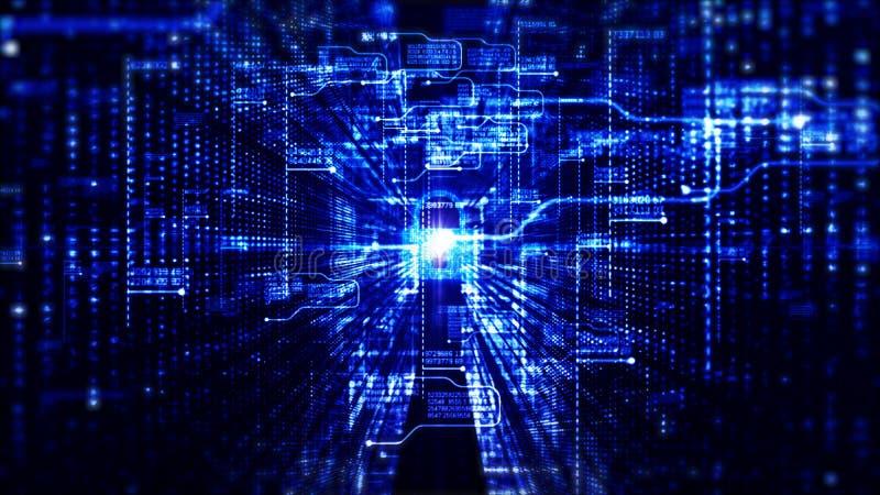 Fondo digital de alta tecnolog?a de los datos de la red de la seguridad y de la tecnolog?a y del concepto de la comunicaci?n ilustración del vector
