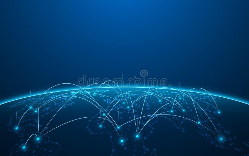 Fondo digital del concepto de la innovación de la tecnología del modelo de la textura del mapa del mundo abstracto ilustración del vector