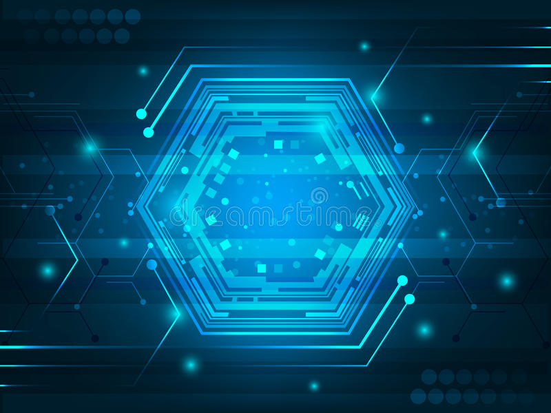 Fondo digital futurista abstracto de la innovación con la placa de circuito, el hexágono, el efecto brillante y el brillo stock de ilustración