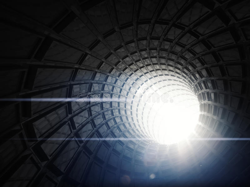 Fondo digital negro abstracto del túnel, 3 d libre illustration