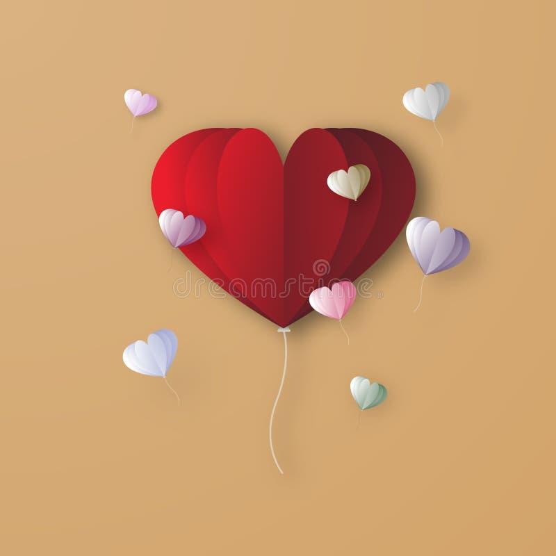 Fondo digitale di progettazione grafica del papercraft del pallone rosso del cuore Amore del biglietto di S. Valentino e concetto royalty illustrazione gratis