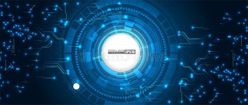 Fondo digitale futuristico dell'innovazione di tecnologia di HUD del fondo di Ciao-tecnologia di concetto astratto di comunicazio illustrazione vettoriale