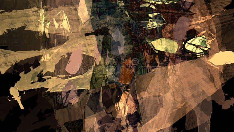 Fondo digitale variopinto materiale dell'illustrazione del colore ad acqua del paesaggio della montagna di struttura dell'estratt illustrazione di stock
