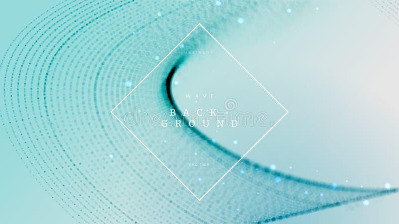 Fondo dinámico de la onda abstracta azul suave con las partículas defocused, borrosas Puede ser utilizado para el folleto de la c libre illustration