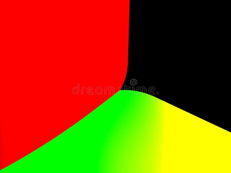Fondo dinamico e rosso astratto di pendenza di verde nero e giallo illustrazione di stock
