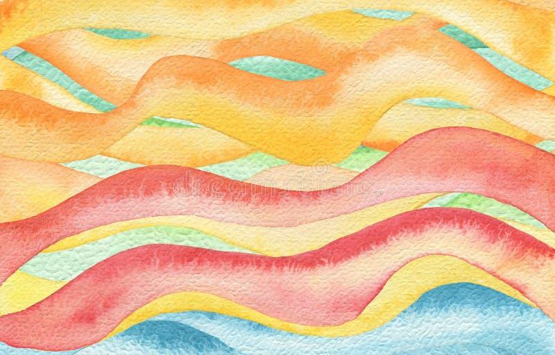 Fondo dipinto acquerello astratto dell'onda illustrazione di stock