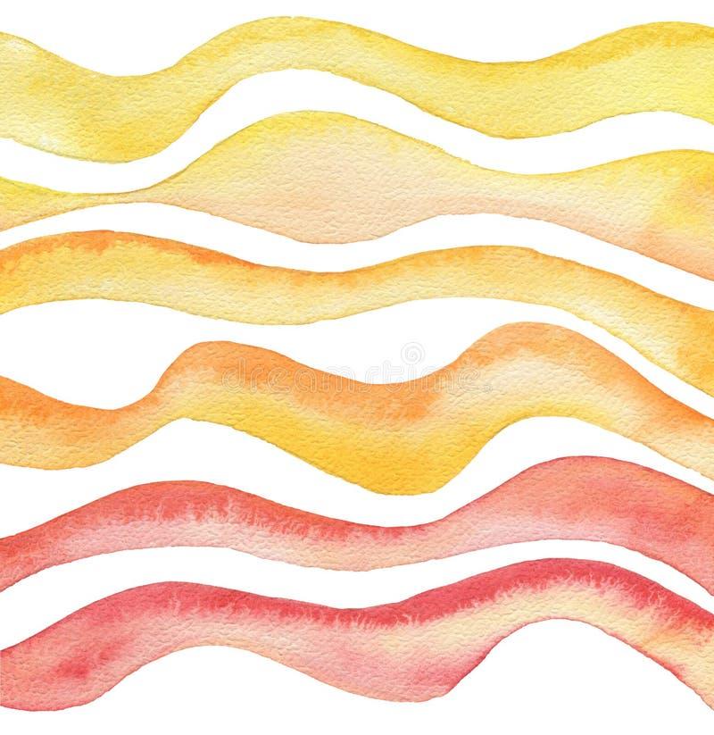 Fondo dipinto acquerello astratto dell'onda Struttura (di carta) increspata illustrazione di stock