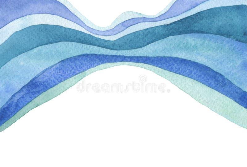 Fondo dipinto acquerello astratto dell'onda Struttura (di carta) increspata Isolato illustrazione di stock