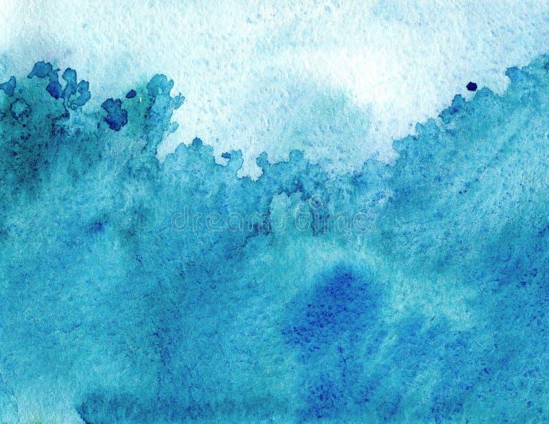 Fondo dipinto acquerello creativo dell'estratto con gli strati blu del lavaggio Cielo e mare molli, ghiaccio illustrazione di stock