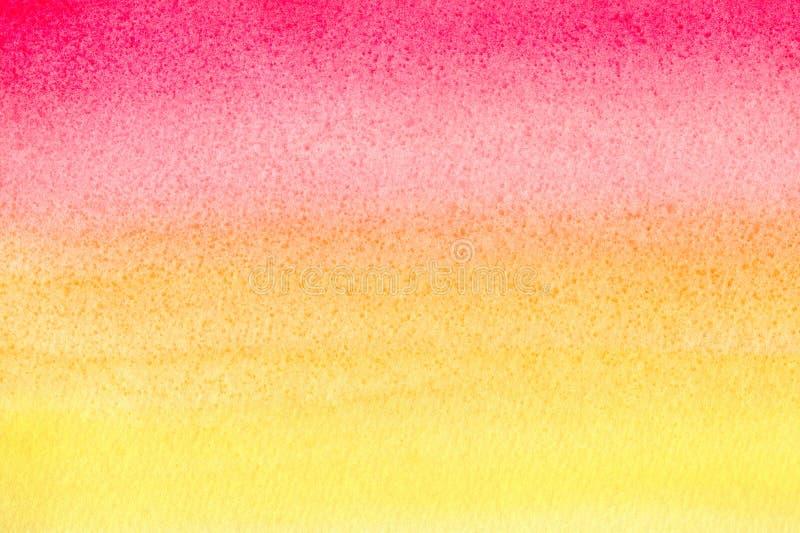 Fondo dipinto fatto a mano rosso di pendenza dell'acquerello su carta strutturata Macchie acquerelle Modello dipinto estratto con fotografie stock