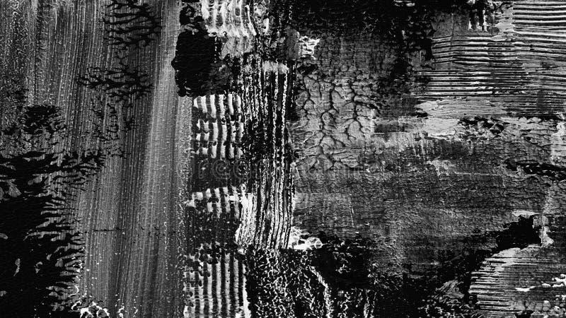 Fondo dipinto a mano strutturato in bianco e nero scuro astratto fotografia stock libera da diritti