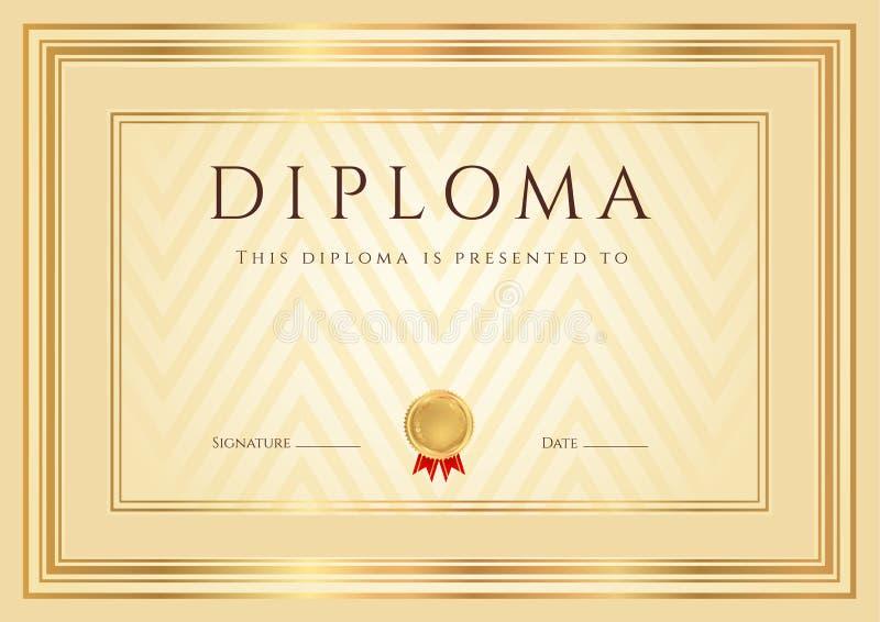Fondo diploma/del certificato (modello). Pagina illustrazione di stock