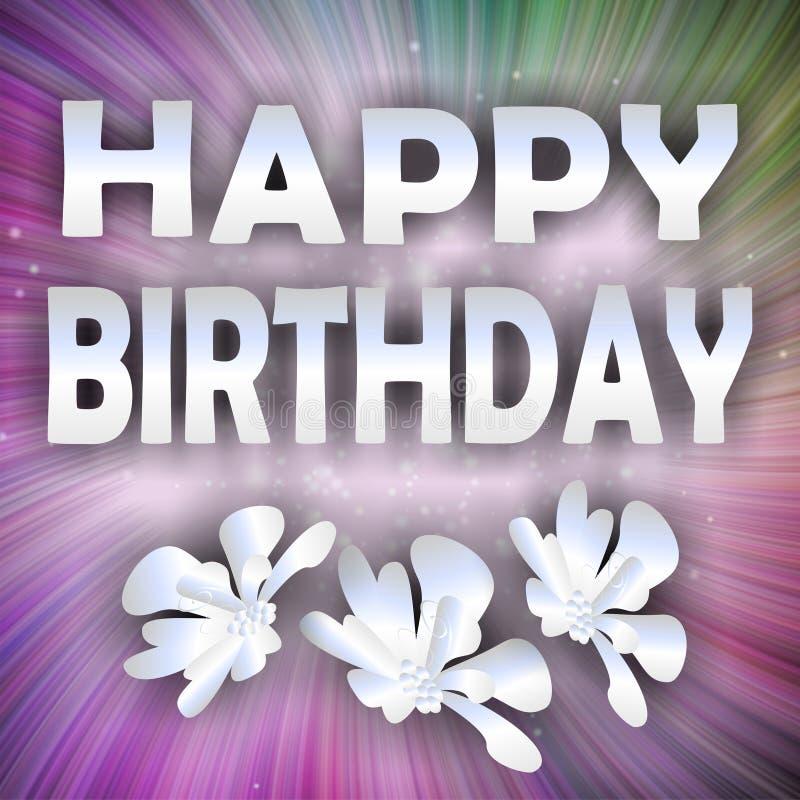Fondo discreto del feliz cumpleaños con la inscripción de plata ilustración del vector