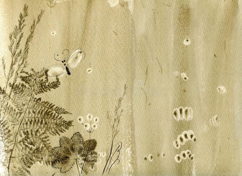 Fondo disegnato a mano beige dell'acquerello con le erbe e le impronte asciutte naturali delle foglie illustrazione di stock