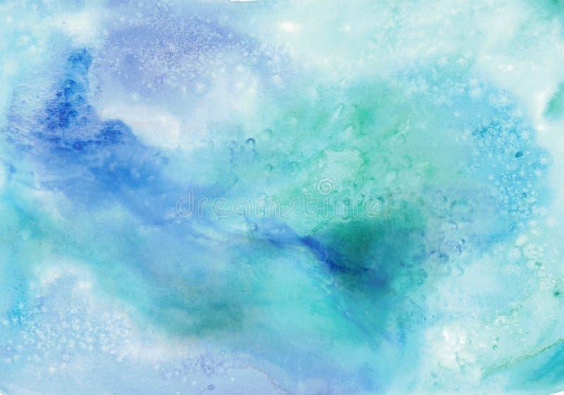 Fondo disegnato a mano blu dell'acquerello per progettazione illustrazione vettoriale