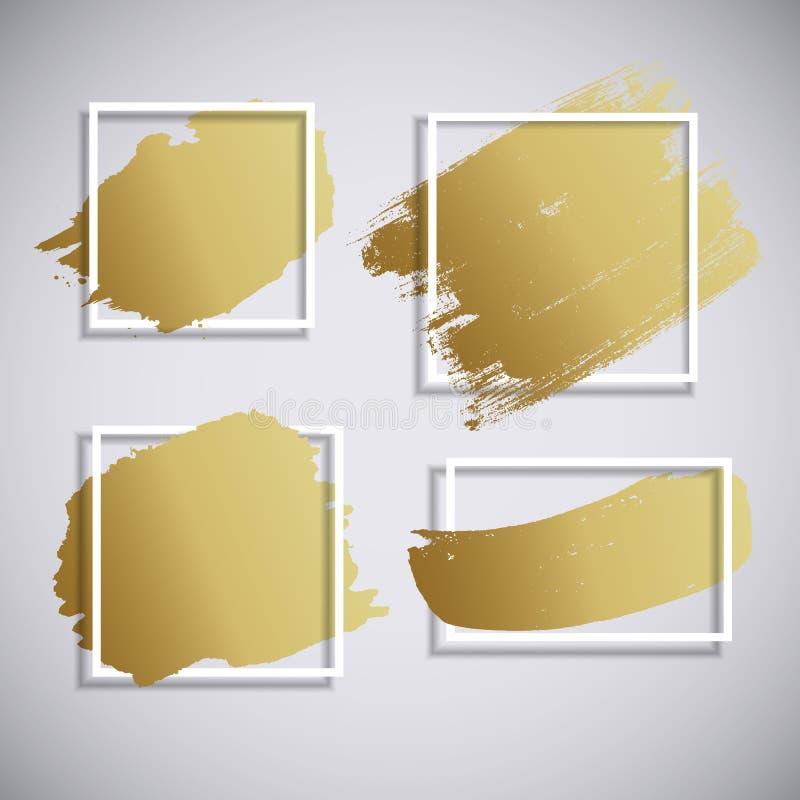 Fondo disegnato a mano del colpo dorato astratto del pennello Elemento artistico sporco di progettazione Illustrazione di vettore illustrazione di stock