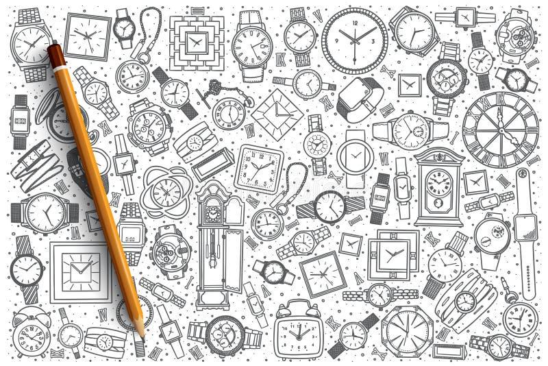 Fondo disegnato a mano del negozio dell'orologio illustrazione di stock