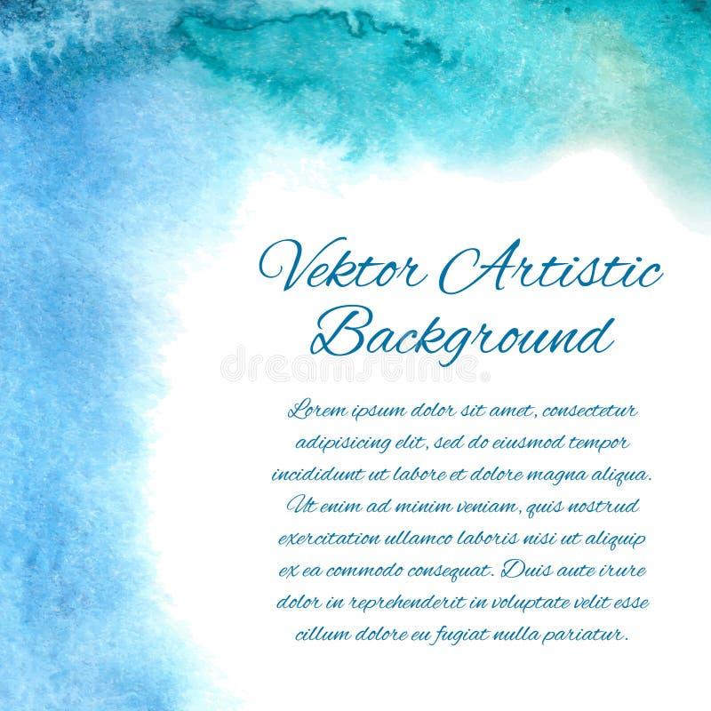 Fondo disegnato a mano dell'acquerello Angolo dipinto blu C'è un posto per testo illustrazione vettoriale