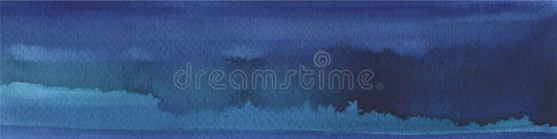 Fondo disegnato a mano dell'acquerello blu ricco scuro con i colpi ed i divorzi Fondo astratto per progettazione, disposizioni illustrazione vettoriale