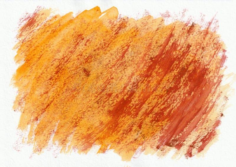 Fondo disegnato a mano dell'acquerello orizzontale arancio e rosso Bei colpi duri diagonali del pennello fotografia stock