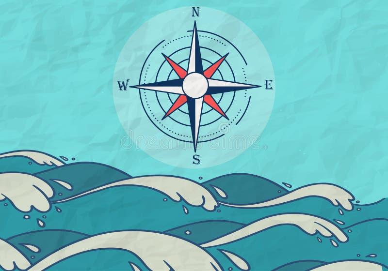 Fondo disegnato a mano della bussola del mare illustrazione di stock