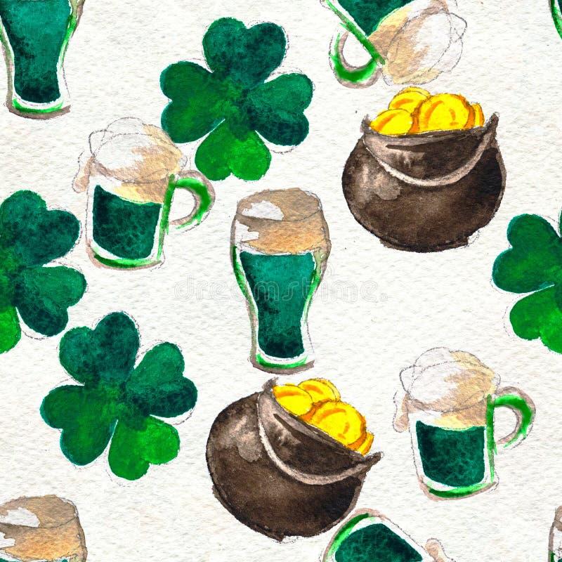 Fondo disegnato a mano senza cuciture con i simboli del giorno di St Patrick illustrazione vettoriale