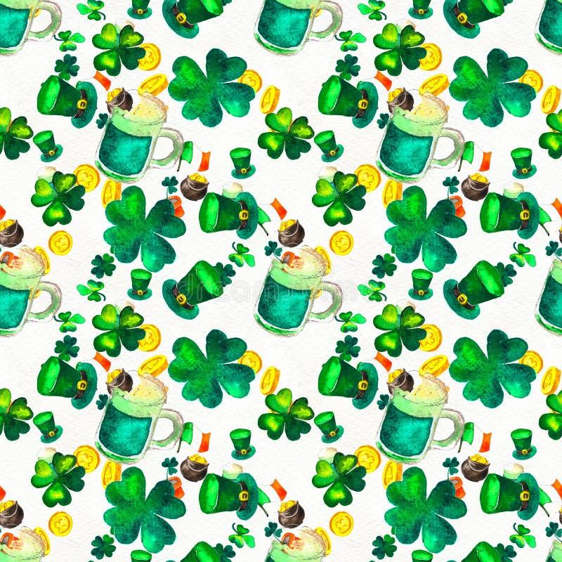Fondo disegnato a mano senza cuciture con i simboli del giorno di St Patrick illustrazione di stock