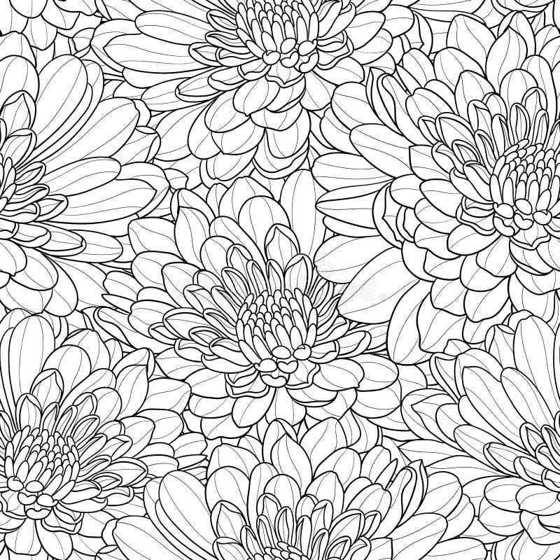 Fondo disegnato a mano senza cuciture di vettore del fiore in bianco e nero illustrazione vettoriale
