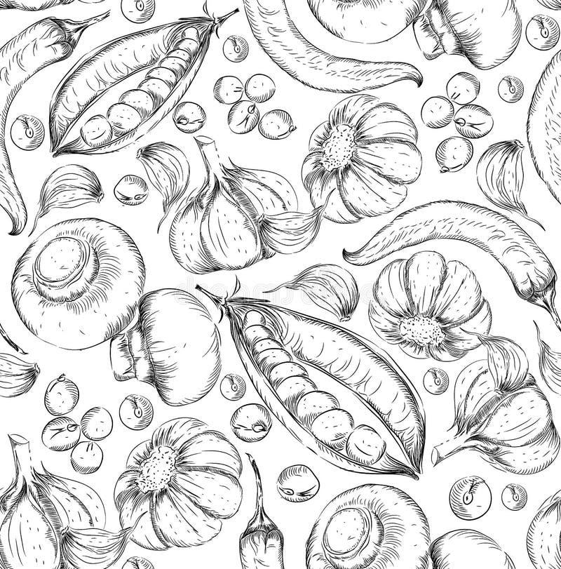 Fondo disegnato a mano senza cuciture Insieme di stile di schizzo delle verdure Alimento d'annata di eco Illustrazione di vettore illustrazione vettoriale