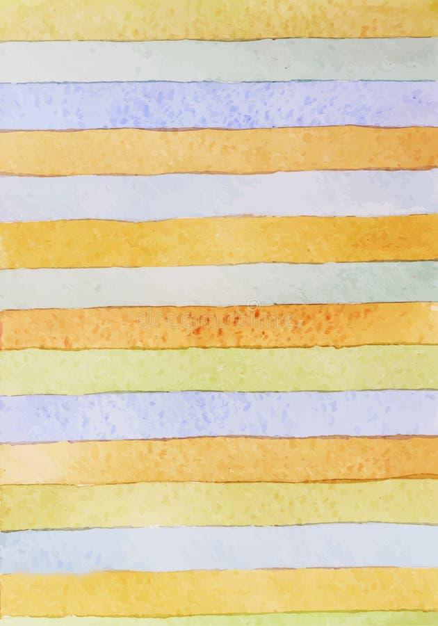 Fondo disegnato a mano a strisce dell'acquerello Versione di vettore Albero congelato solo Composizione nell'acquerello per gli e fotografia stock
